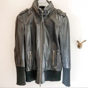 Mackage leather jacket with wool sweater trims